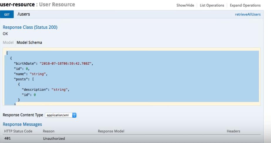 Screenshot of User Resource page