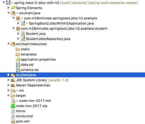 Integrating Spring Boot and Spring JDBC with H2 and Starter